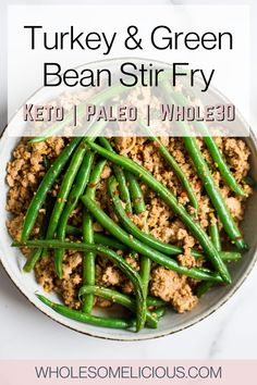 This Turkey and Green Bean Stir-Fry is the easiest dinner out there! Only 20 minutes, one pan, and simple ingredients is all you need to make this weeknight dinner. It's healthy, keto, paleo, and loaded with flavor! No Dairy Recipes, Whole30 Recipes, Meat Recipes, Real Food Recipes, Dinner Recipes, Turkey And Green Beans, Cilantro Lime Cauliflower Rice, Vegan Dinners, Meals For The Week