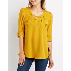Charlotte Russe Lace-Up Pocket Shirt ($15) ❤ liked on Polyvore featuring tops, mustard, roll top, lace up front shirt, long sleeve shirts, charlotte russe and chiffon shirt
