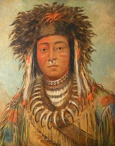 The young man depicted in this painting was an Ojibwe named Boy Chief. He was painted by George Catlin around 1935. He and eleven other Ojibwe were transported to France in 1845, where they served as a form of live entertainment for King Louis Philippe.