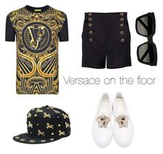 """""""Versace on the floor"""" by tikamassijaya on Polyvore featuring Versace and Yves Saint Laurent"""