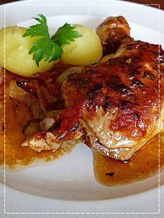 Kouzlo mého domova: Kuřecí stehna se šalotkami alá Dita P. No Salt Recipes, Cooking Recipes, Czech Recipes, Poultry, Pork, Food And Drink, Menu, Chicken, Baking