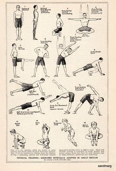 Fun and Fitness Chart Exercises for Good Health 1924 by sandmarg, $14.99