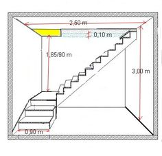 Risultati immagini per calcul escalier avec palier Home Stairs Design, Railing Design, Interior Stairs, House Design, Loft Stairs, Basement Stairs, House Stairs, Steel Stairs, Stair Plan