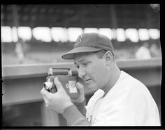 Rudy York with home movie camera at the 1946 World Series at Fenway Park.