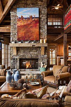 log home rustic great room