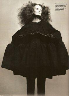 Grace Coddington in Ghesquiere Balenciaga, as inspired by the REAL Balenciaga.