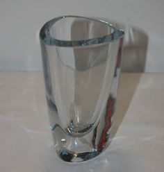 Vintage Retro 1950s Strombergshyttan Ice Blue Glass Vase Signed Sweden