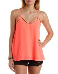 Neon Caged Swing Tank Top by Charlotte Russe - Fiery Coral