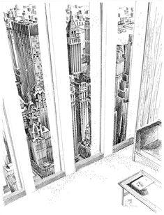 Carlos Diniz, architectural illustrator 1928-2001 / World Trade Center / via reas
