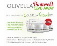 Partecipa al concorso #Olivella #GiveAway e potrai vincere un kit di #Creme #Viso #Olivella Facial Kit.  Iscriviti anche tu!