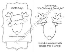 """Santa Says: Guided Reading Book from mz applebee on TeachersNotebook.com -  (22 pages)  - A great reader for December to celebrate Christmas, """"Santa Says"""" is an original story that uses repetitive text and sight words to create a fun learning experience for emergent readers."""
