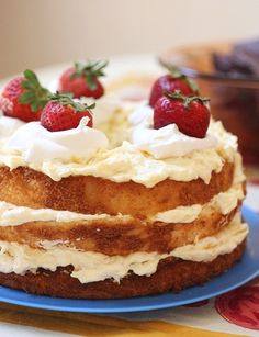 Angel Food Cake with Pineapple Cream- mix 1 (20oz) can of crushed pineapple and 1 pkg vanilla instant dry pudding mix. Stir in 1 cup of cool whip.  Stack angel food cake on a plate and spread the pudding mix between the layers.  ENJOY! So delicious and light!