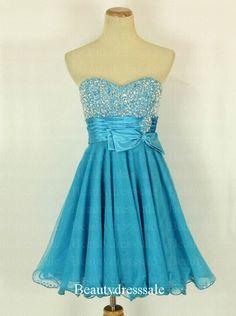 Beauty Blue Sweetheart Mini Cocktail Graduation Dress,Prom Dress,Short Formal Dress,Bridedmaid Dress,Cocktail Dresses on Etsy, $159.00