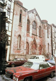 love how the speckled red is repeated in both the building and the car. From the NYC municipal archives.