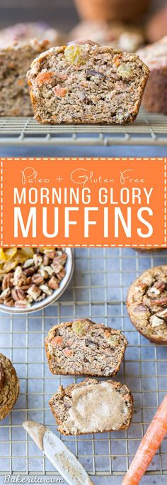 These Paleo Morning Glory Muffins are loaded with bananas, shredded carrots, toasted walnuts, and golden raisins. These easy muffins have NO added sugar - they're sweetened entirely with bananas! They're the perfect on-the-go breakfast or snack.