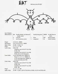 Tat's All She Wrote: Tatting bat Tatting Jewelry, Tatting Lace, Needle Tatting Patterns, Bat Pattern, Tatting Tutorial, Tutorial Crochet, Halloween Patterns, Thread Art, Vintage Sewing Machines