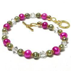Bracelet Pearl  Pink   Celery Green  Crystals  by marilyn1545, $30.00