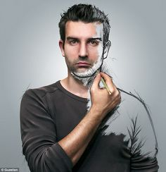 Sketch: Sebastien Del Grosso, 32, creates composite pieces combing both portrait photographs and a painting effect