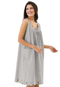 Dreams &Amp; Co Women's Plus Size Sleeveless Print Sleepshirt Dreams & Co (Heather Grey,1X/2X)  #Dreams&Co® #Apparel