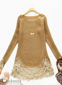Shades of Sienna Lace-Trimmed Tunic Sweater - Blouses & Tops - Ladies on Wanelo