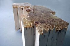 "broken wood table by Jack Craig - , pine, polyester resin. 36"" x 14"" x 20"". Love the frayed details in the broken wood and resin."