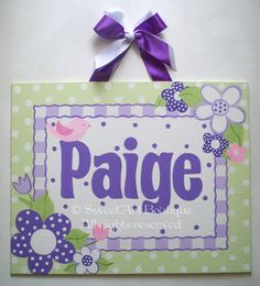 Lavender purple Lime Green Flowers Custom canvas name sign wall art baby nursery kids hand painted dots pink. $40.00, via Etsy.