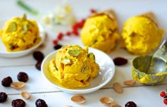 Vegan Christmas – Saffron ice cream with cranberries and pistachios – Planet Plant-Based