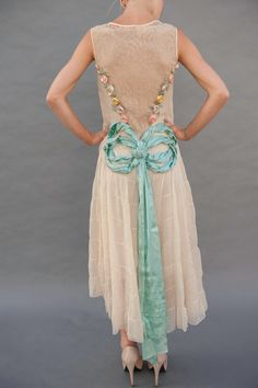 1920s FLAPPER lace and tulle Dress with Original Ribbonwork flowers and a double bow made of one VERY long piece of wide ribbon. So precious!