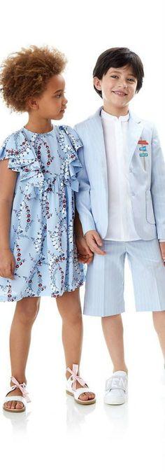 e244bd63b610 Fendi Girls Japanese Floral Print Dress   Boys Blue Short Suit
