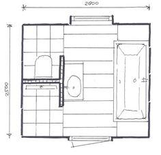 Plattegrond badkamer + gebruiksruimte