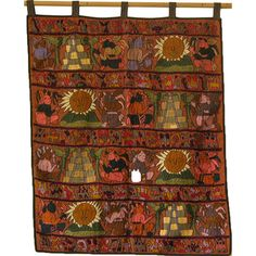 @Overstock - Hand embroidered Mayan tapestry in multiple colors on brown background showing many traditional designs and patterns combined with motifs displaying other scenes of Mayan culture such as pyramids, the Quetzal bird, the sun and volcanoes.http://www.overstock.com/Worldstock-Fair-Trade/Orange-Hand-Embroidered-Mayan-Tapestry-Guatemala/7666805/product.html?CID=214117 $158.49