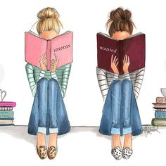 """Gorgeous illustration - My two favorite book nerds, """"Sofa Chic"""" and """"The Fine Art of Staying In"""" Both on… Best Friend Drawings, Bff Drawings, Friends Sketch, Girly M, Montage Photo, Girl Reading, Reading Buddies, Best Friends Forever, Book Nerd"""