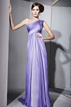 Floor Length Formal Dresses For Party Ombre Purple One Shoulder Beads