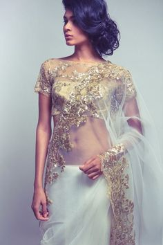 Saree by Neeta Lulla featured in Vogue India October 2013 #saree #indian wedding #fashion #style #bride #bridal party #gorgeous #elegant #blouse #lehenga #desi style #designer #outfit #inspired #beautiful #must-have's #india