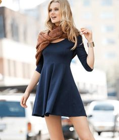 SCOOP NECK 3/4 SLEEVE SKATER DRESS 3098 | eBay