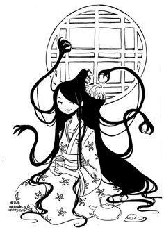 Inktober 13 by Kehmy on DeviantArt Japanese Mythology, Japanese Folklore, Inktober, Japanese Urban Legends, Creepy Cat, Japanese Monster, Japanese Horror, Legends And Myths, Demon Art