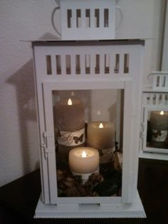 DIY bedroom table lanterns. Think I might do this when we go to redo our room!