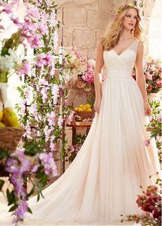 Elegant Tulle V-neck Neckline A-line Wedding Dress