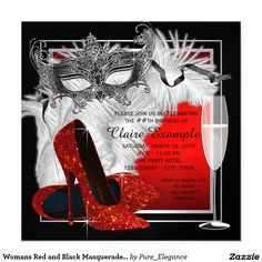 Womans Red And Black Masquerade Birthday Party 525x525 Square Paper Invitation Card