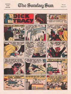 Sunday Comics II -- Dick Tracy Vintage Type, Vintage Art, Comic Page, Vintage Comics, Block Prints, Newspaper, 1950s, The Past, Sunday