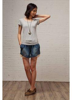 lace & denim shorts
