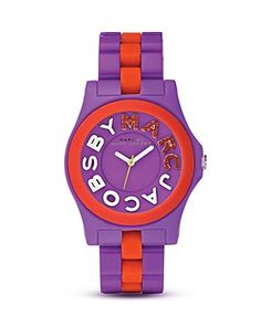MARC by MARC JACOBS Rivera purple and red logo watch $175
