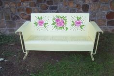 vintage metal porch glider, restored and custom painted with roses. Truly one of a kind.