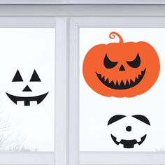 A personal favorite from my Etsy shop https://www.etsy.com/listing/483489393/reusable-pumpkin-faces-window-cling