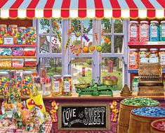 In the 1000 piece jigsaw puzzle, Sweetshop by White Mountain, a bright and happy candy store with shelves full of treats is depicted. This puzzle makes you want to go get some candy or chocolate! Puzzle Shop, New Puzzle, Puzzle Art, Best Jigsaw, Cartoon Art Styles, Colorful Candy, Candy Store, Candyland, 1000 Piece Jigsaw Puzzles