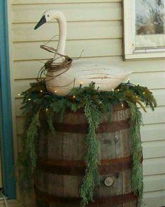 Winter barrel display from my old home...LORI TRIPLETT