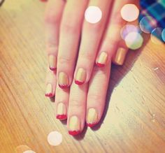 Red; Gold; Nail Art My friends told that this nail looks like Iron Man XD