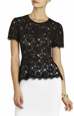 Evia Lace #Peplum Top from BCBG.