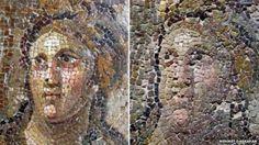 Comparación del mosaico antes y después de ser restaurado