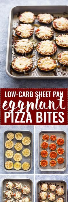 Low-Carb Eggplant Pizza Bites- Eggplant slices topped with garlic, pizza sauce and cheese. These simple bites are made with just 6 simple ingredients in under 30 minutes and make the perfect healthy low-carb snack or meal. Aubergine Pizza, Eggplant Pizzas, Eggplant Recipes, Veggie Dishes, Vegetable Recipes, Vegetarian Recipes, Cheese Dishes, Vegetarian Dinners, Gastronomia